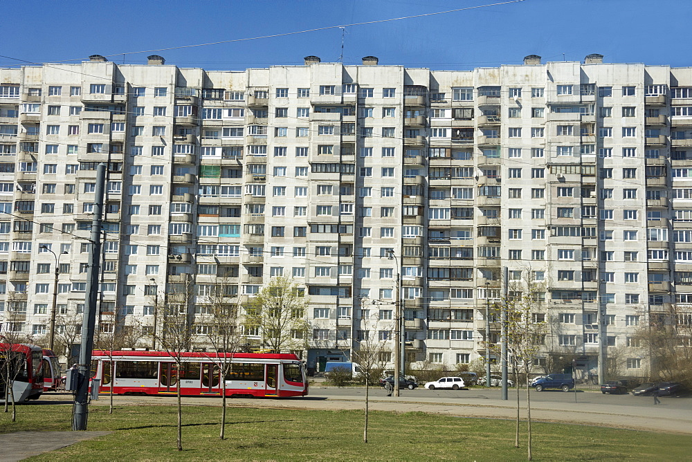 Blocks of flats on Vasilensky Island, St. Petersburg, Russia, Europe