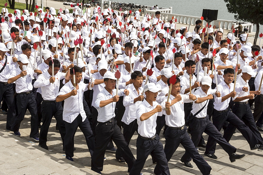 Kim Il Sung Square, hordes of young people rehearsing marching routines prior to a grand parade, Pyongyang, North Korea, Asia - 29-5489