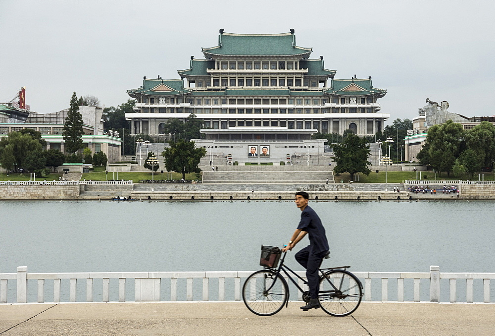 Grand People's Study House and Kim Il Sung Square, seen across Taedong River, Pyongyang, North Korea, Asia - 29-5492