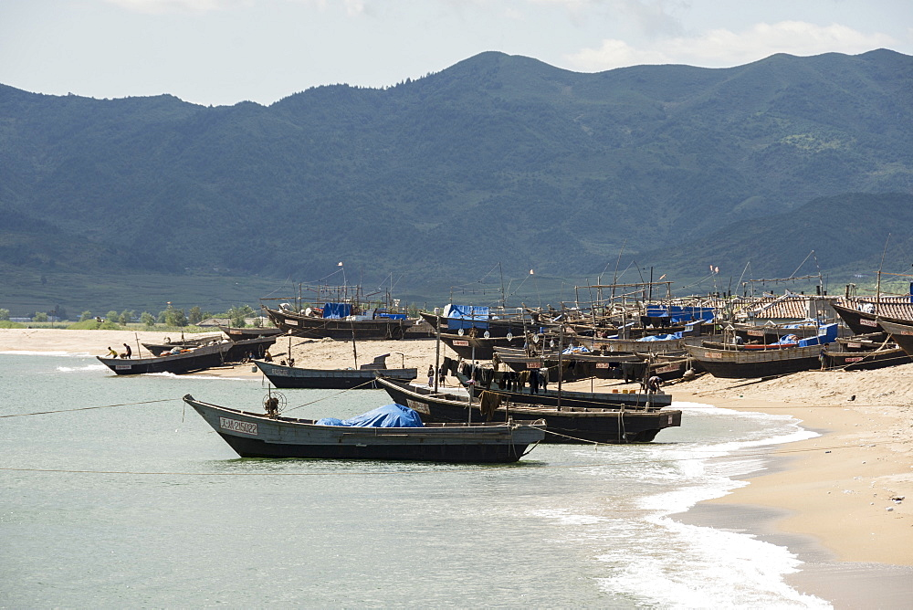 Fishing boats on beach at Yongbun, near Chongjin, Hamgyong Province, North Korea, Asia - 29-5500