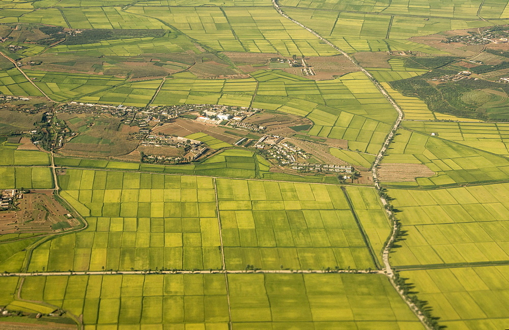 Village, rice paddies and farmland near Hambong, Hamgyong Province, North Korea, Asia - 29-5503