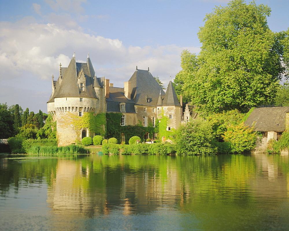 Bazouges Chateau and the River Loire at Sarthe, Pays de la Loire, Loire Valley, France, Europe