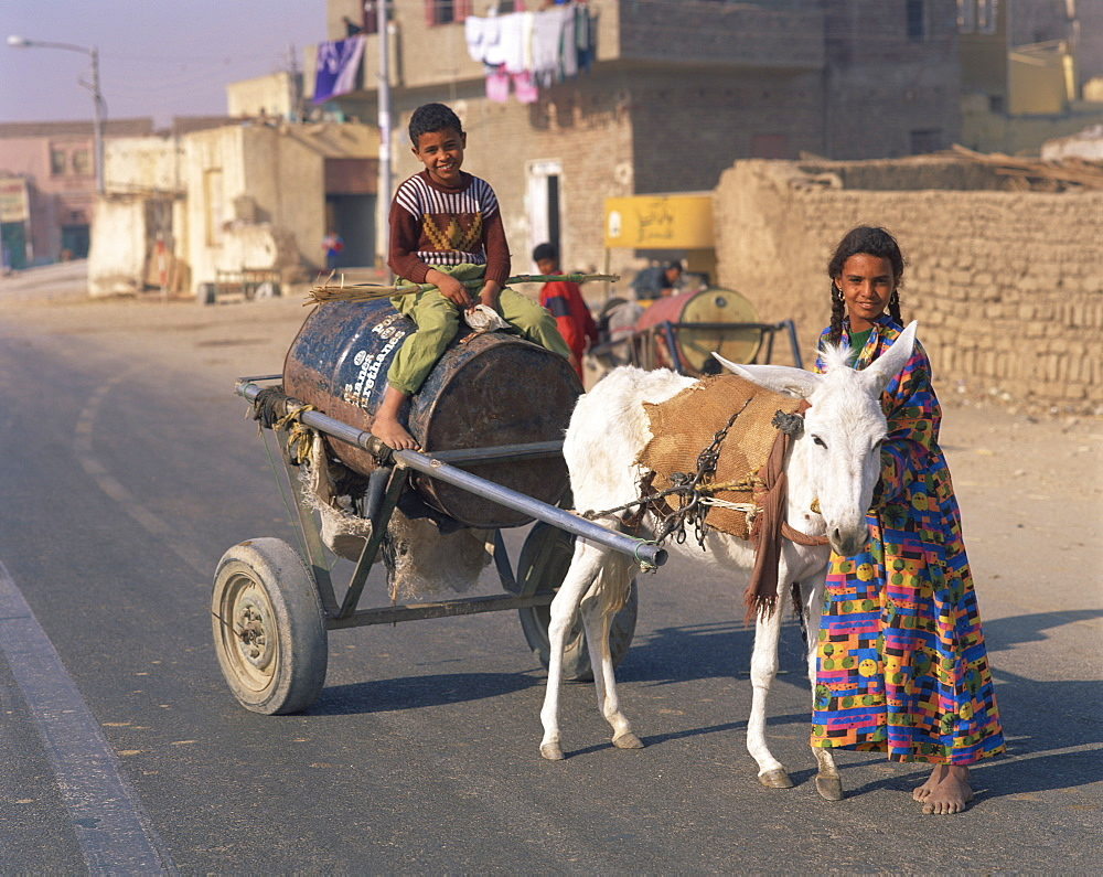 Portrait of children fetching water on a donkey cart, Luxor, Thebes, Egypt, North Africa, Africa