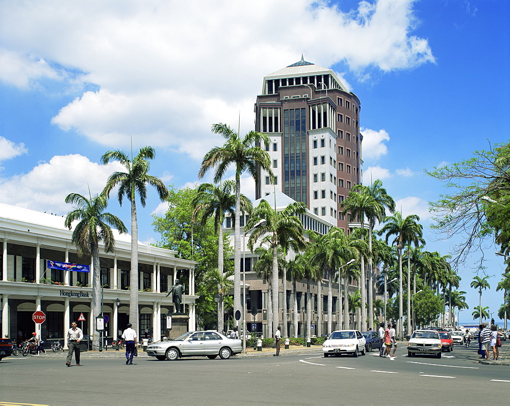 City centre and State Bank, Port Louis, Mauritius, Indian Ocean, Africa
