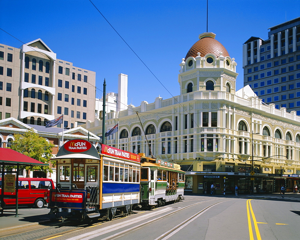 Tram in Cathedral Square, Christchurch, New Zealand, Australasia
