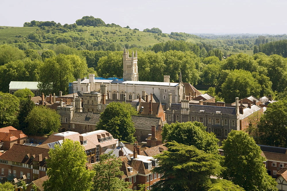 Winchester College from cathedral tower, Hampshire, England, United Kingdom, Europe