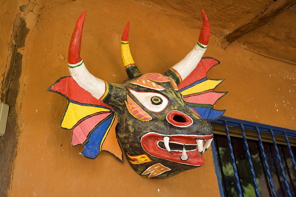 Devil mask, Aldea, Margarita island, Caribbean, Venezuela, South America