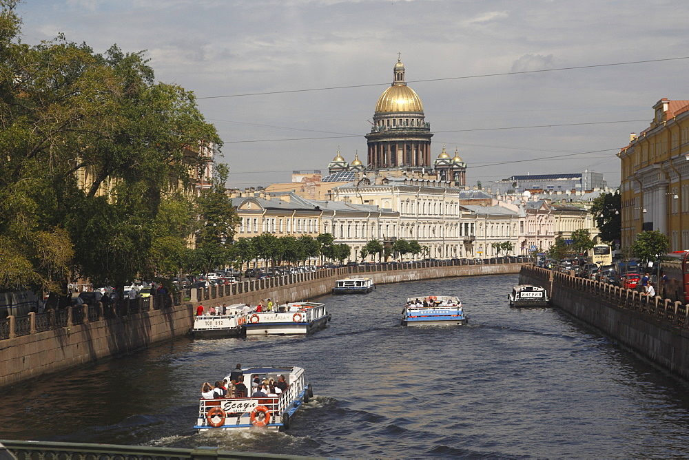 Dome of St. Isaac's Cathedral and canal, St. Petersburg, Russia, Europe