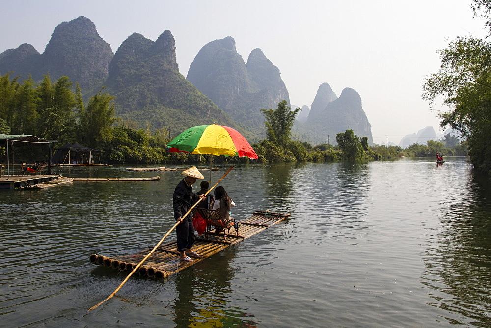 Rafting on the Yulong River, Yangshuo, Guangxi, China, Asia