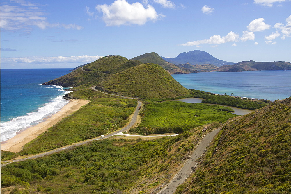 View from Timothy's Hill of St. Kitts panhandle and distant Nevis, St. Kitts and Nevis, Leeward Islands, West Indies, Caribbean, Central America
