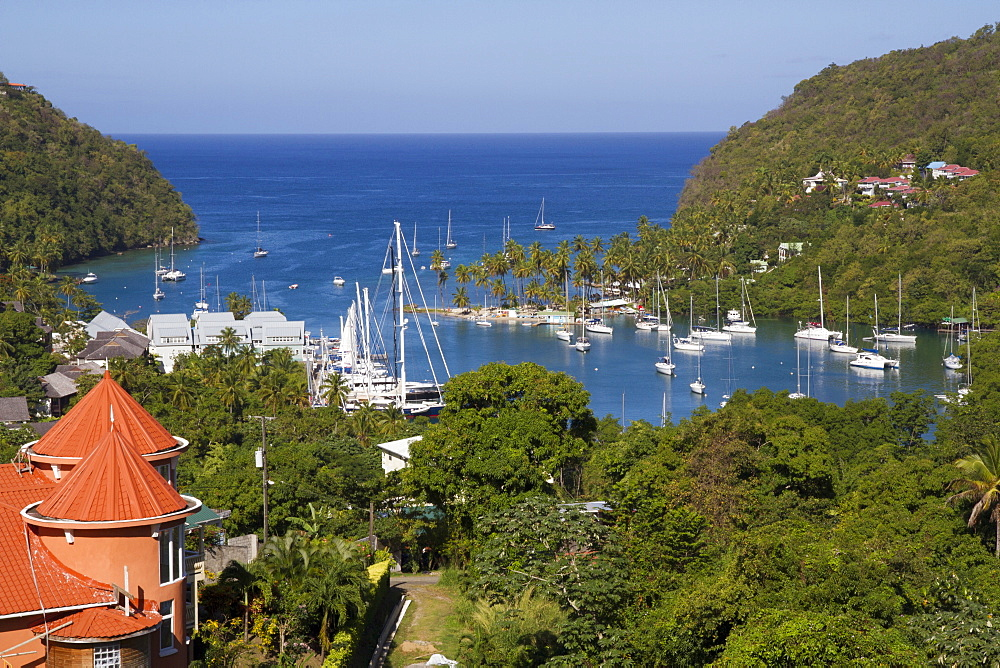 Marigot Bay and yachts, St. Lucia, Windward Islands, West Indies, Caribbean, Central America