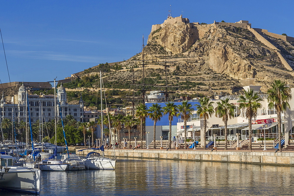 Marina and Castle, Alicante, Spain, Mediterranean, Europe