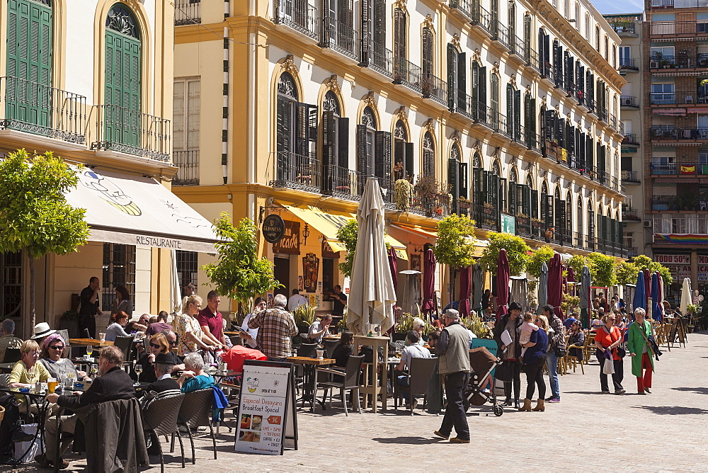 Restaurants in Plaza del la Merced, Malaga, Andalucia, Spain, Europe