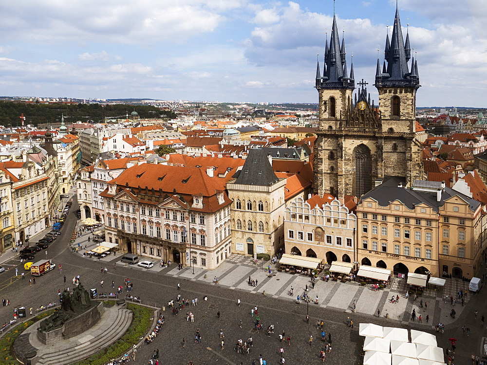 Old Town Square (Staromestske Namesti) and Tyn church, Prague, Czech Republic, Europe