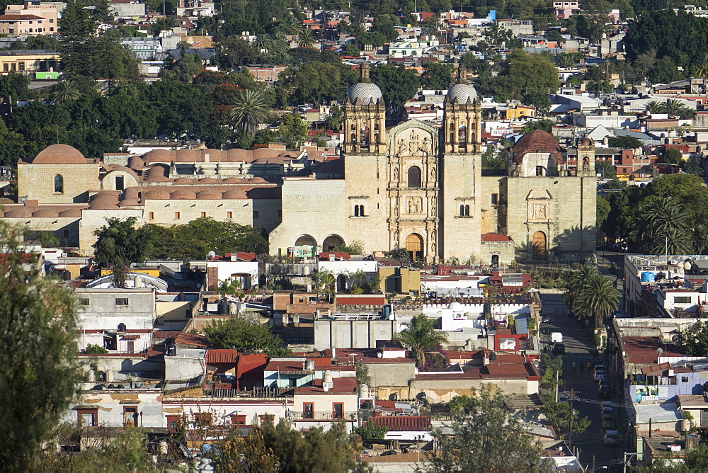 Aerial view of city and Santo Domingo church, Oaxaca, Mexico, North America - 306-4390