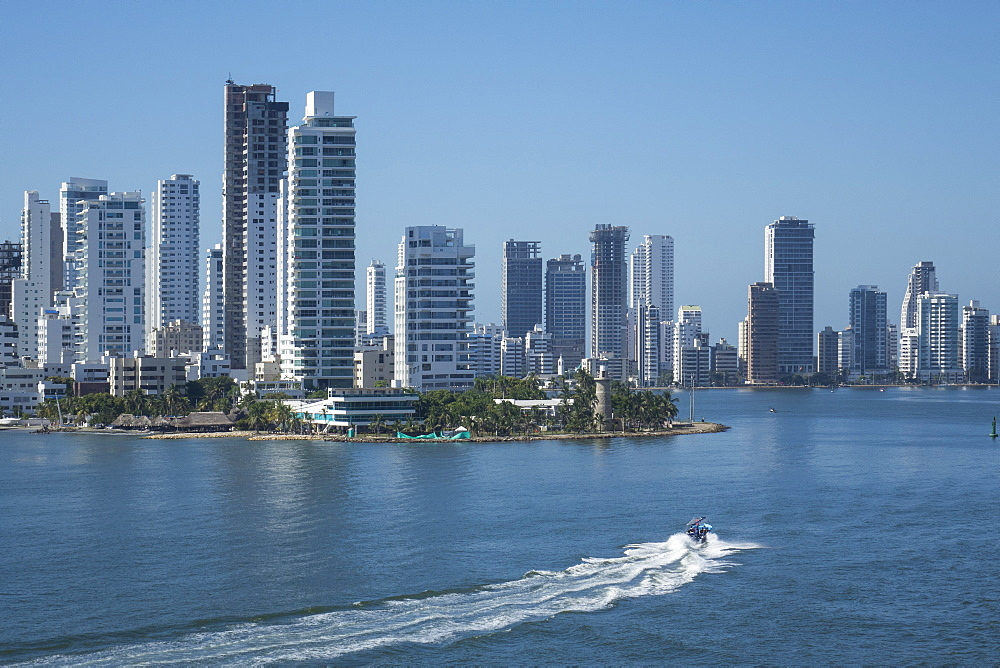 Bocagrande skyline and harbour, Cartagena, Colombia, South America - 306-4422
