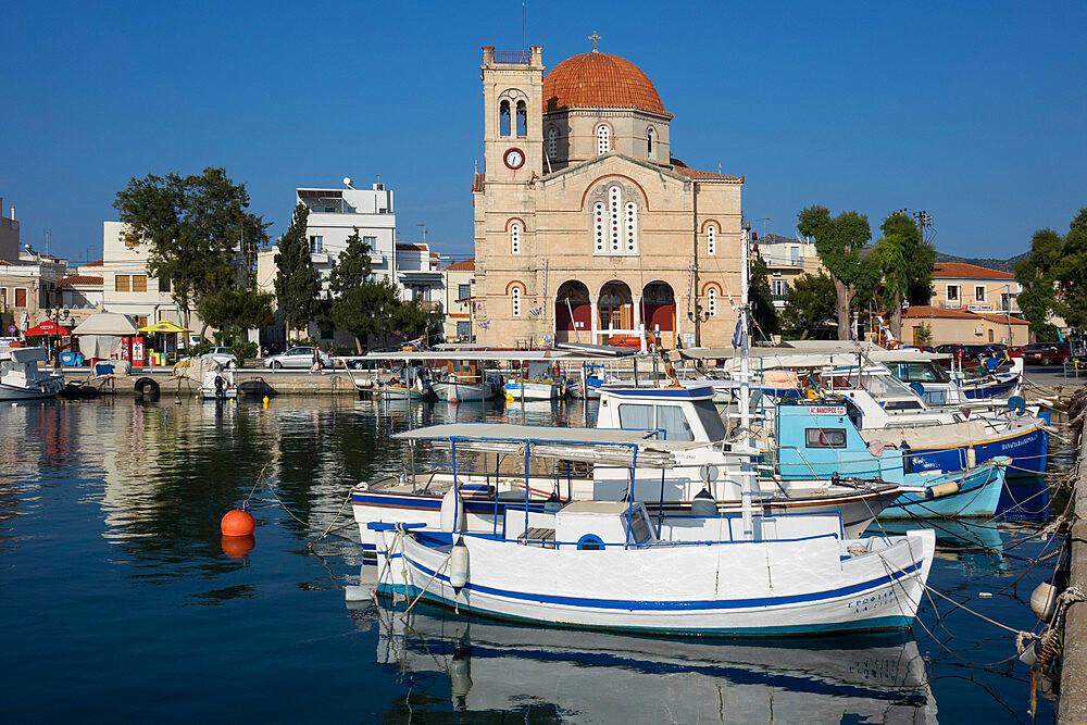 Harbour & Panagitsa church, Aegina town, Aegina, Saronic islands, Greece