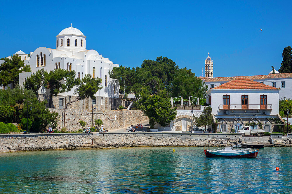 Old harbour & Church of the Three Spetses Martyrs, Spetses, Saronic islands, Greece - 306-4493
