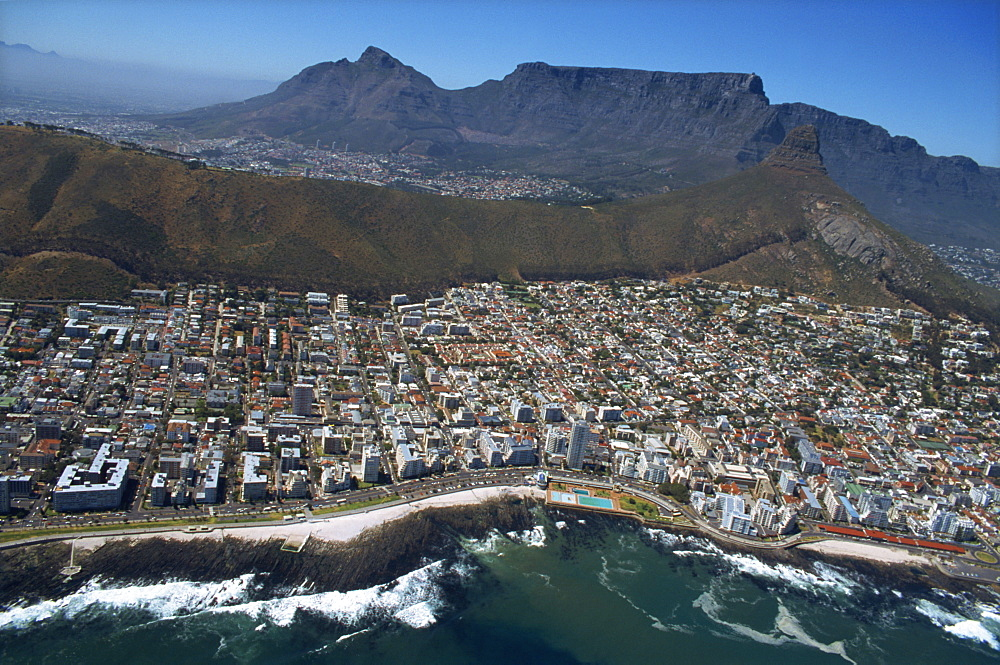 View from helicopter of coastline, Cape Town, Cape Province, South Africa, Africa