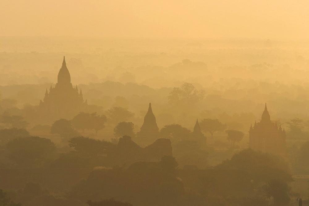View of temples from Shwesandaw Paya at sunrise, old Bagan (Pagan), Myanmar (Burma), Asia