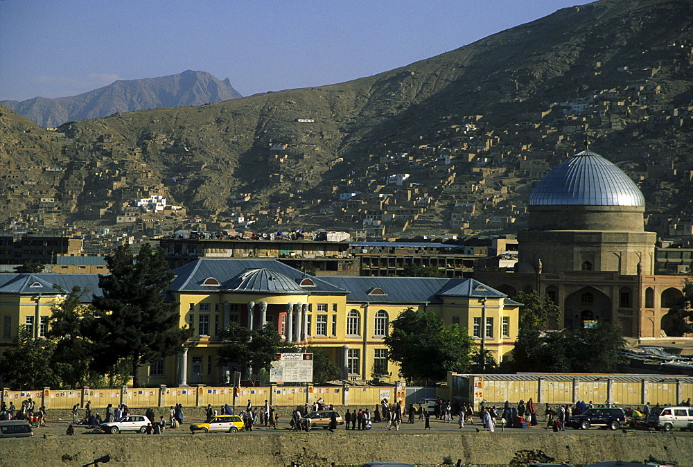 Buildings on the banks of the Kabul River, central Kabul, Kabul, Afghanistan, Asia