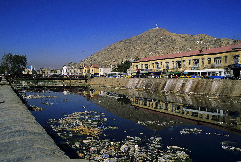 Pollution in the Kabul River, Kabul, Afghanistan, Asia