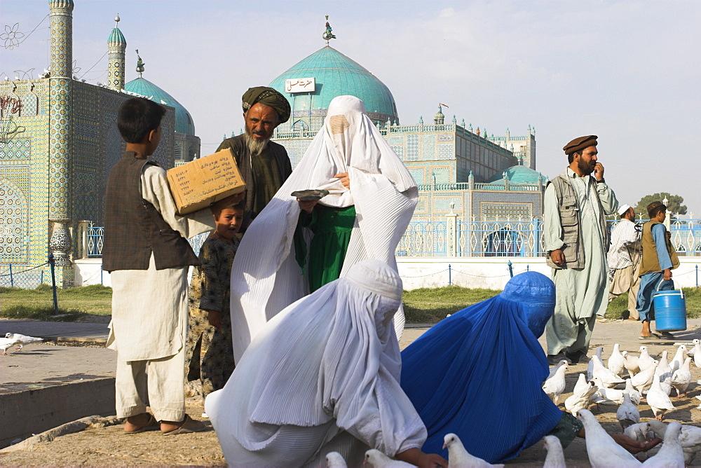 Family feeding the famous white pigeons, Shrine of Hazrat Ali, Mazar-I-Sharif, Balkh province, Afghanistan, Asia