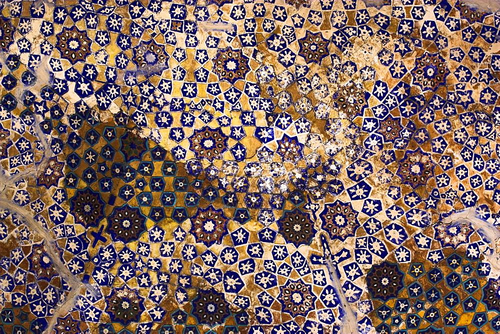 Timurid decoration, main Iwan of the interior courtyard, Sufi shrine of Gazargah, Herat, Herat Province, Afghanistan, Asia