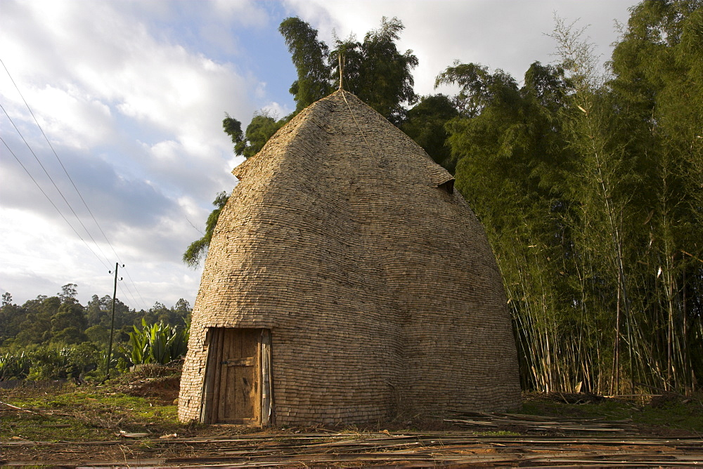Traditional beehive house of the Dorze people, made entirely from organic materials, that can last up to 60 years, Chencha mountains, Rift Valley, Ethiopia, Africa