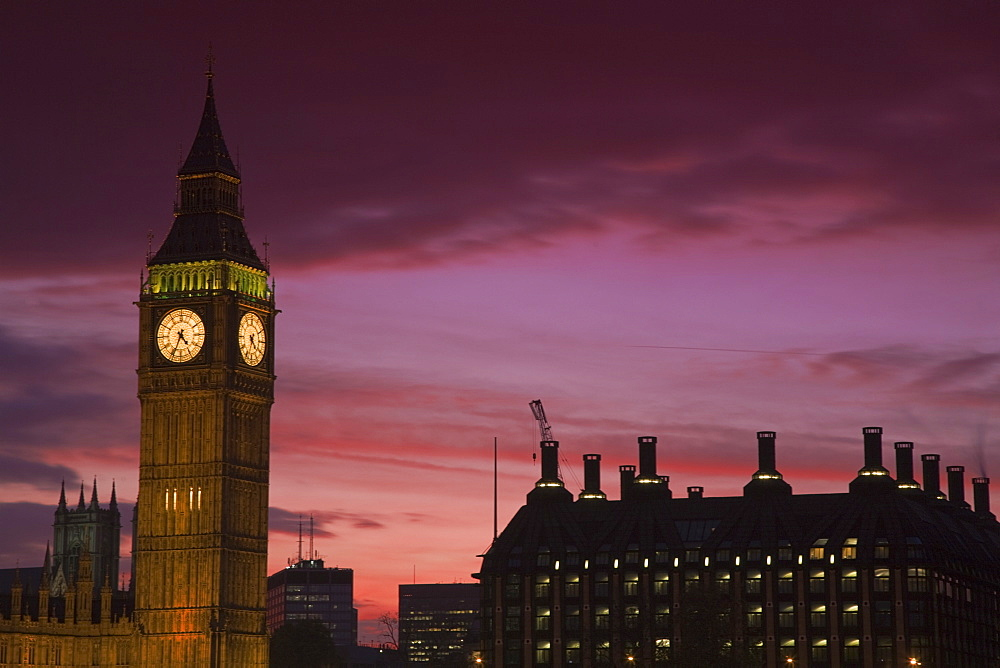 Big Ben and Houses of Parliament at sunset, Westminster, London, England, United Kingdom, Europe