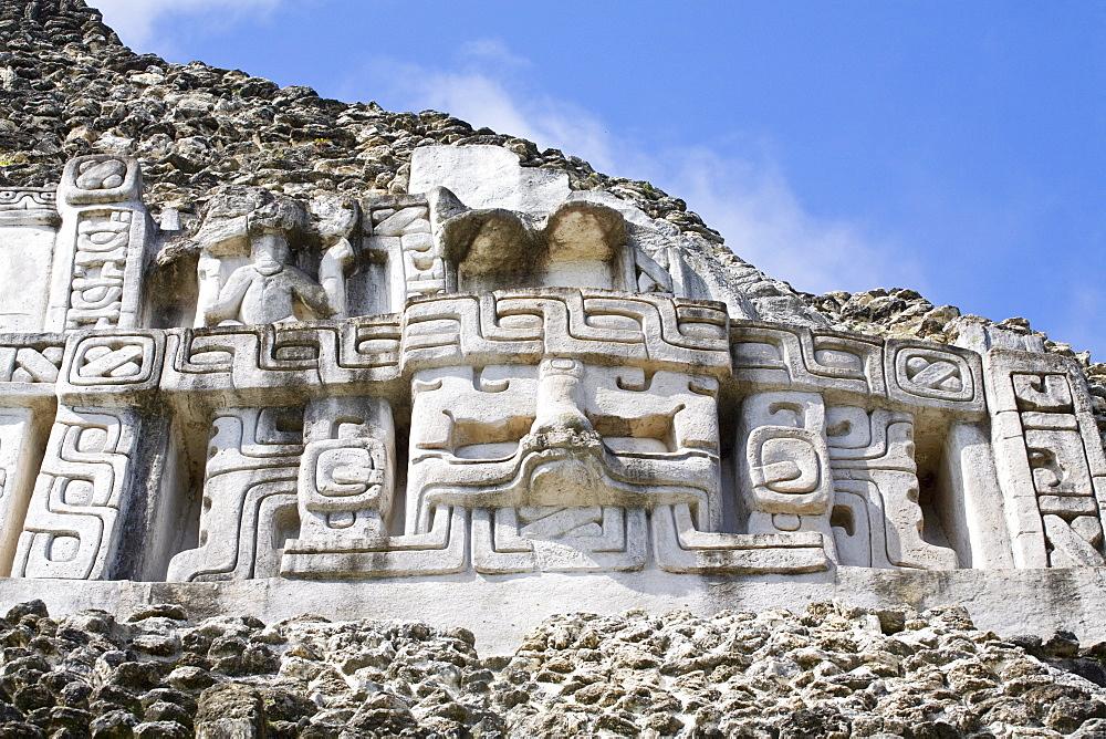 Frieze on the 130ft high El Castillo at the Mayan ruins at Xunantunich, San Ignacio, Belize, Central America