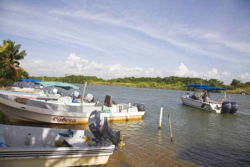 Boats, Monkey River, Placencia, Belize, Central America