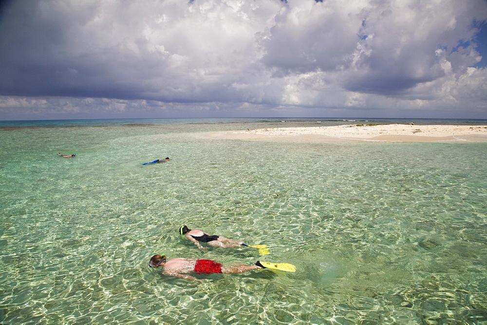 Tourists snorkelling, Bird Island, Belize, Central America