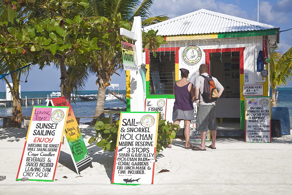 Raggamuffin Tours office on beach, Caye Caulker, Belize, Central America