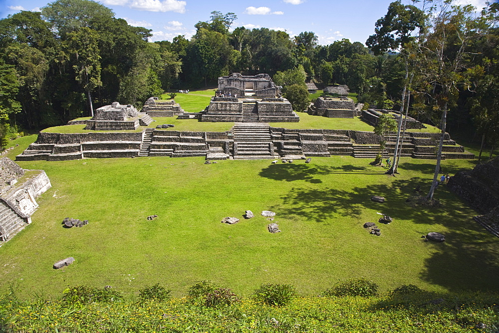 Plaza A, Structure A6 (Temple of the Wooden Lintel), one of the oldest buildings in Caracol, Caracol ruins, Belize, Central America