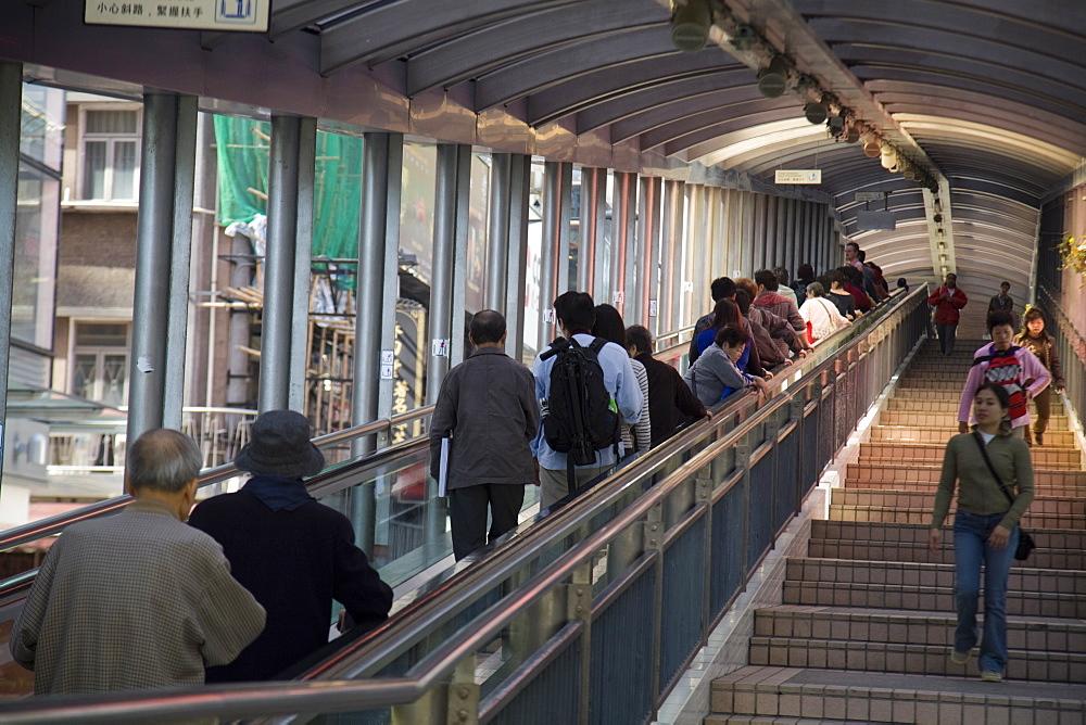 Central-Mid Levels Escalator, Hong Kong Island, Hong Kong, China, Asia
