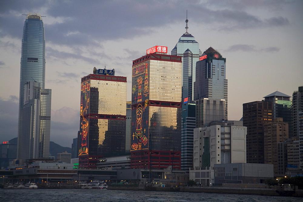 Central skyline, Hong Kong Island at sunset, Hong Kong, China, Asia