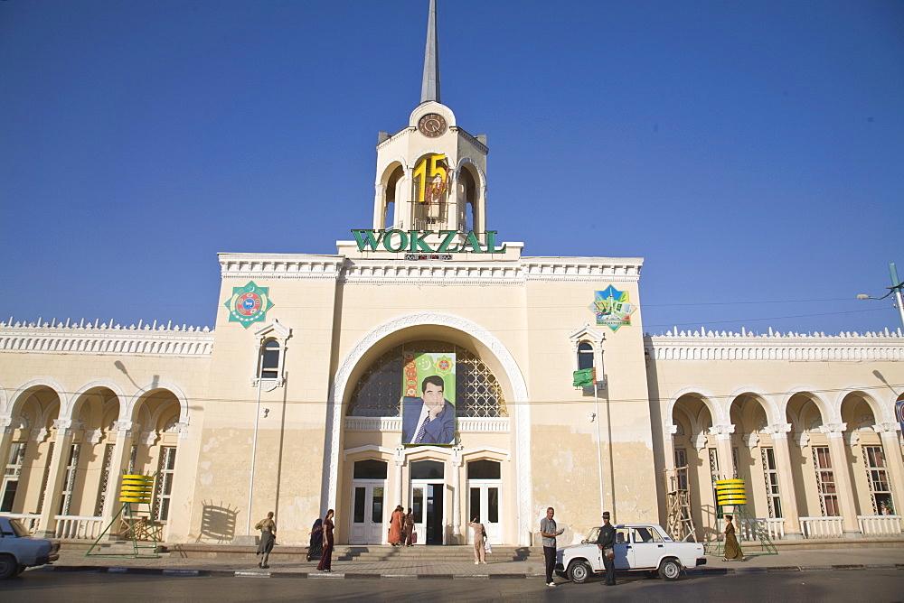 Train station, Ashkabad, Turkmenistan, Central Asia, Asia