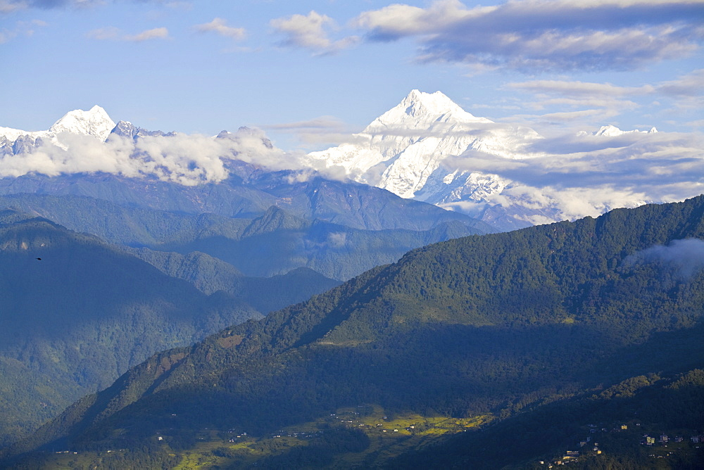 View of Kanchenjunga, Kangchendzonga range, Tashi viewpoint, Gangtok, Sikkim, India, Asia