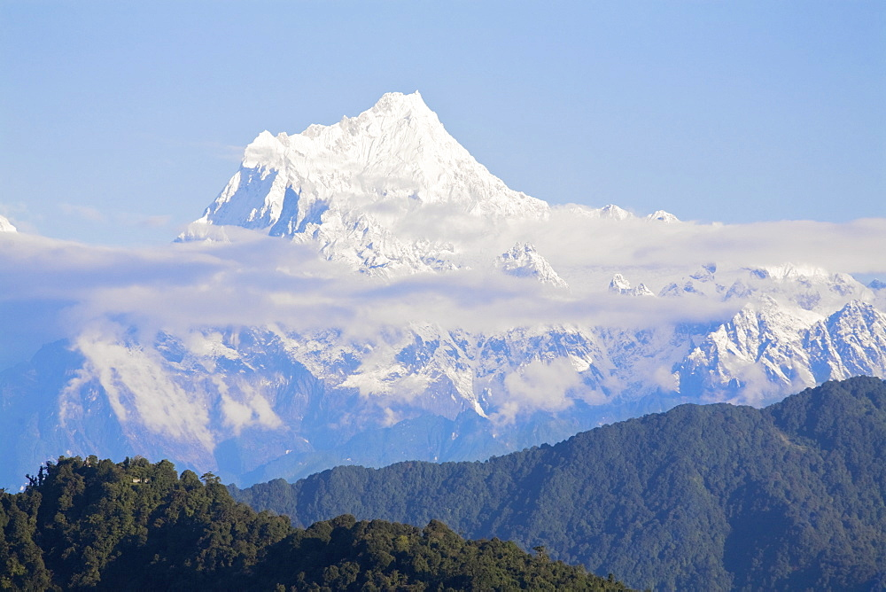 View of Kanchenjunga, Kangchendzonga range, Ganesh Tok viewpoint, Gangtok, Sikkim, India, Asia