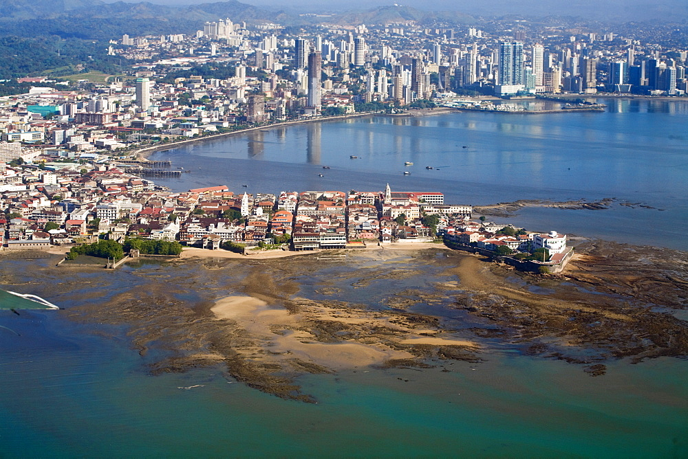 Aerial view of city showing  the old town of Casco Viejo also known as San Felipe and Panama Bay, Panama City, Panama, Central America
