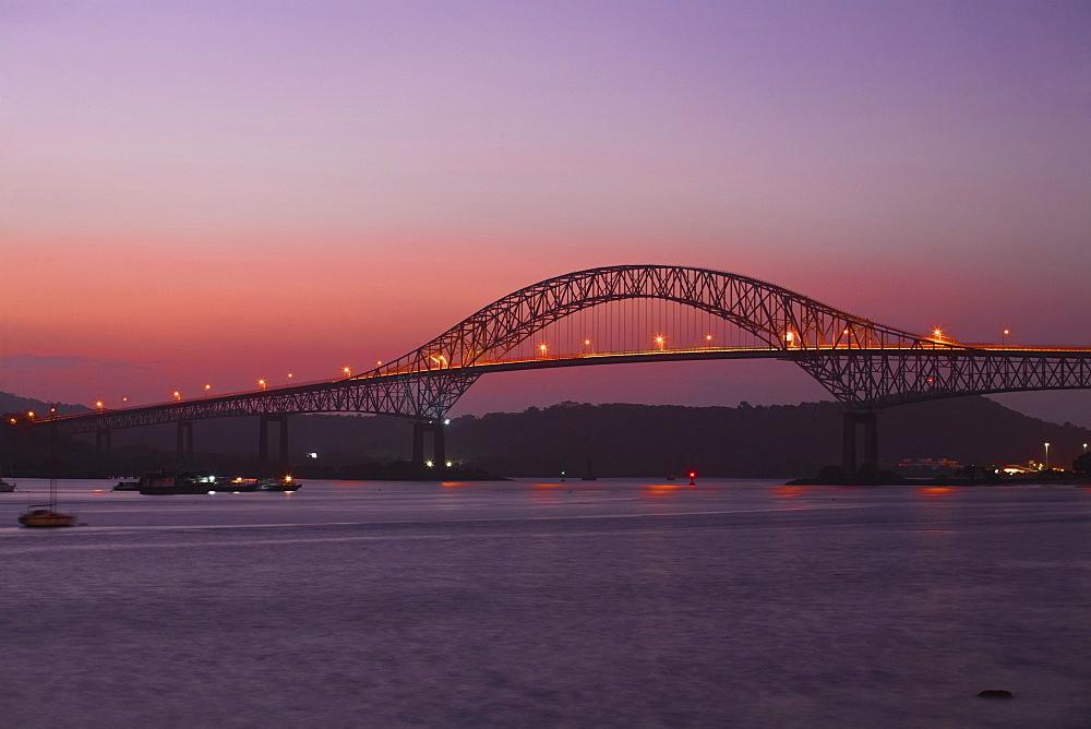 Bridge of the Americas at sunset, Panama City, Panama, Central America