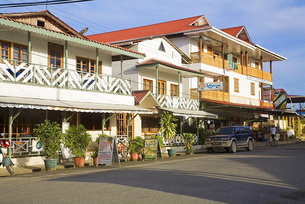 Hotels in main street, Colon Island (Isla Colon), Bocas del Toro Province, Panama, Central America