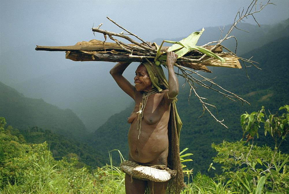 Yali woman carrying wood on her head, Irian Jaya, Island of New Guinea, Indonesia, Southeast Asia, Asia