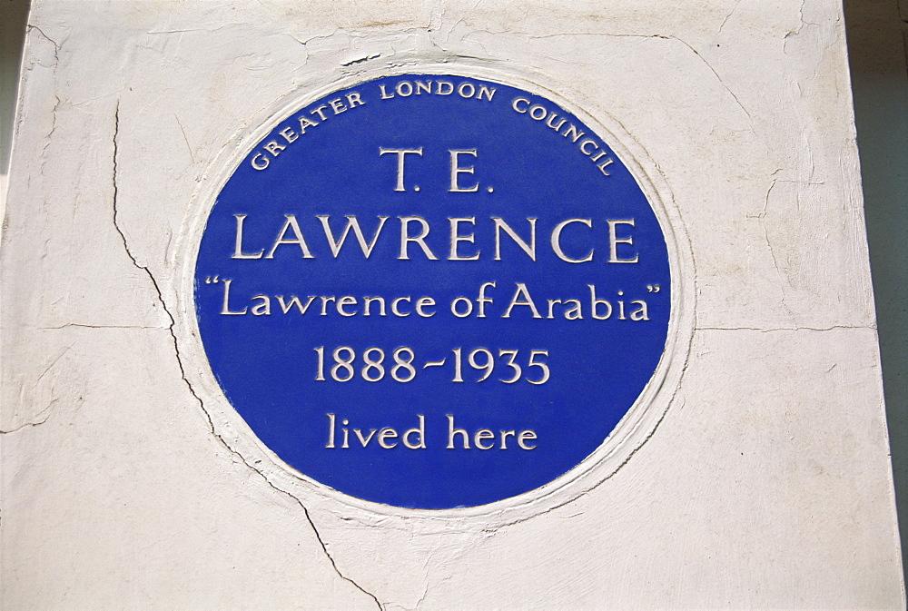 Blue plaque at 14 Barton Street, commemorating T.E. Lawrence, London, England, United Kingdom, Europe - 314-1517