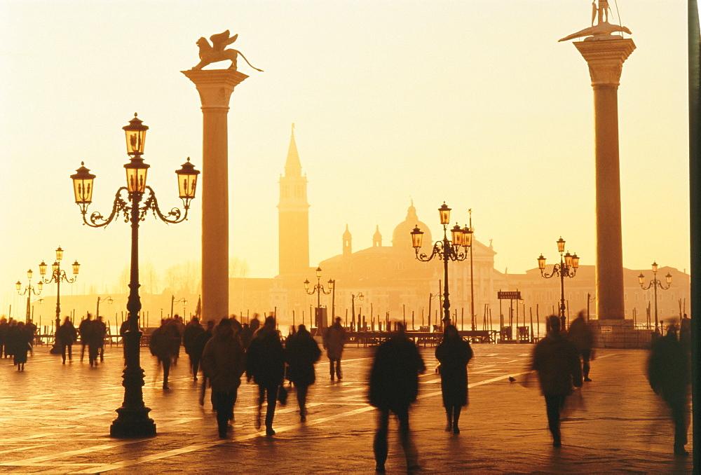 Sunrise in St. Mark's Square, San Giorgio Maggiore in background, Venice, Veneto, Italy - 321-2207