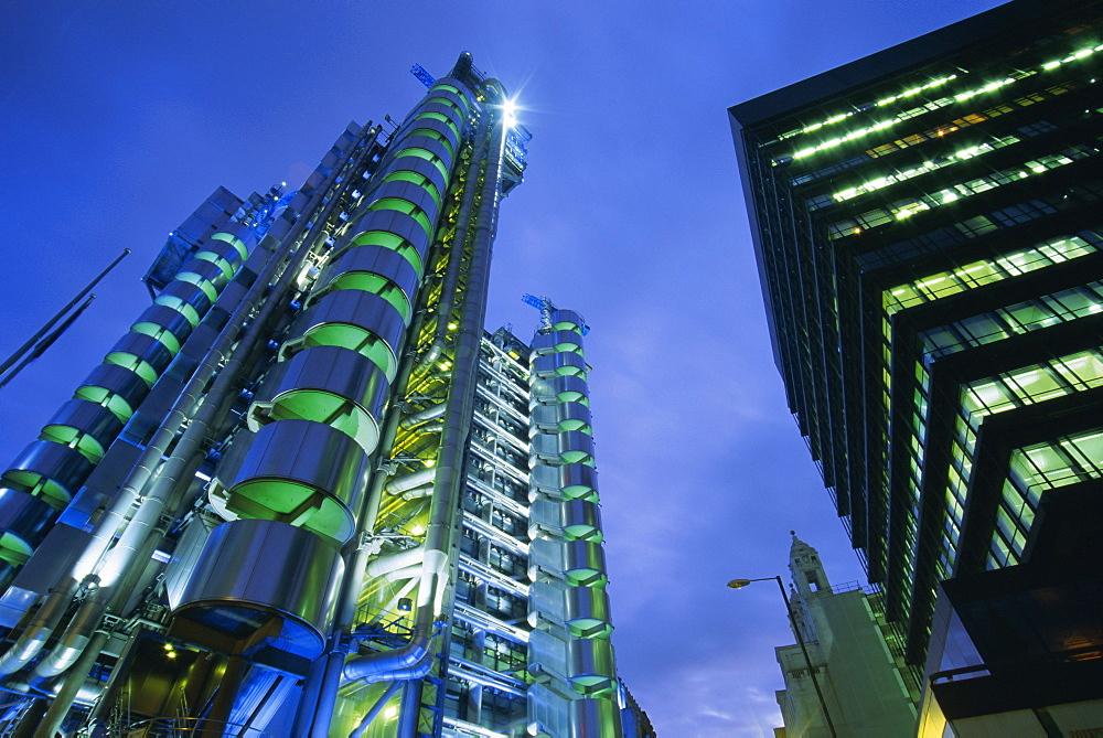 Lloyds Building at night, City of London, London, England, UK, Europe