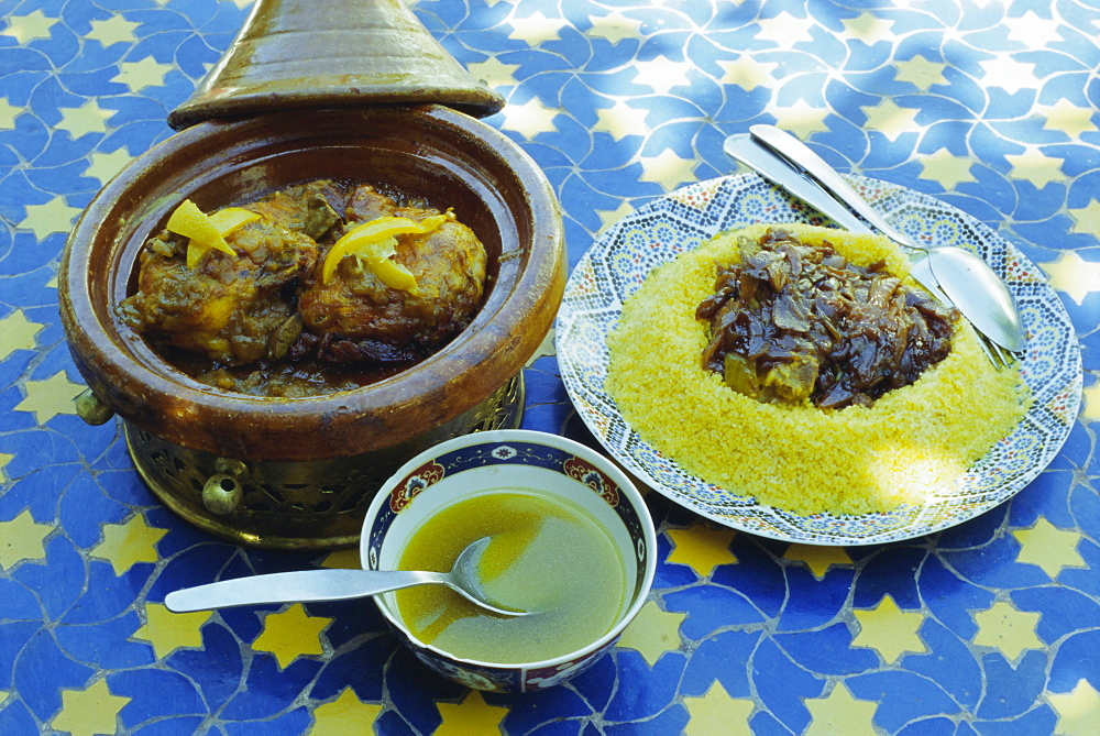 Traditional food including chicken tajine and lamb with couscous, Marrakech (Marrakesh), Morocco, North Africa, Africa - 321-3286