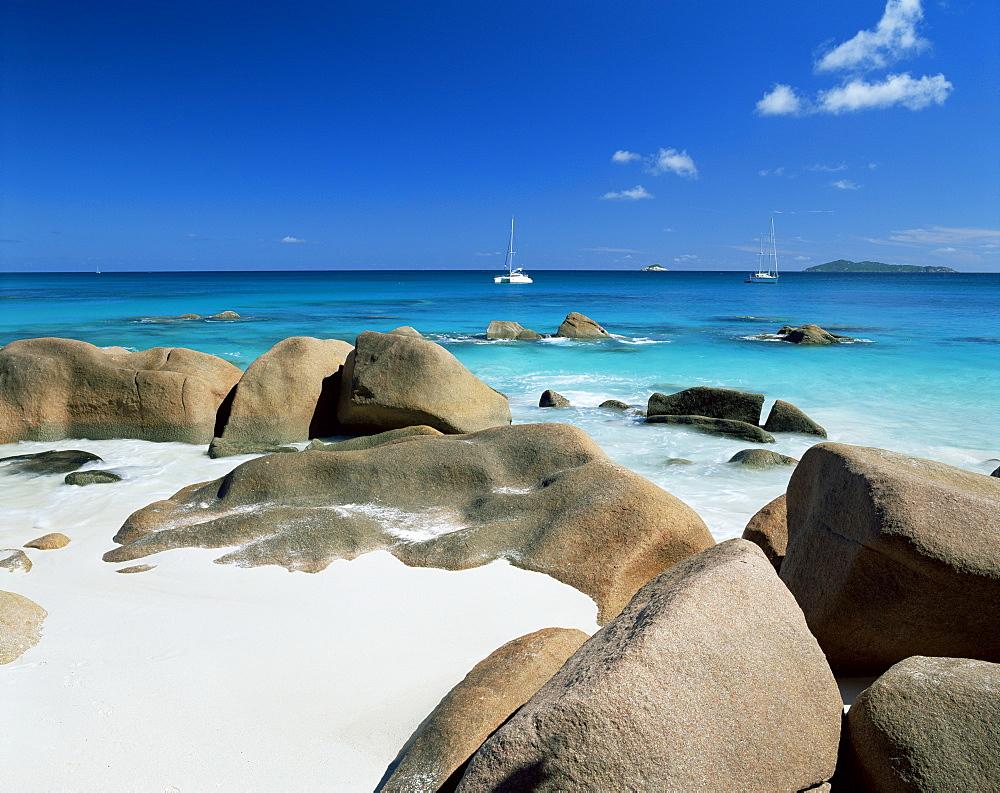 Beach, Anse Lazio, Praslin island, Seychelles, Indian Ocean, Africa