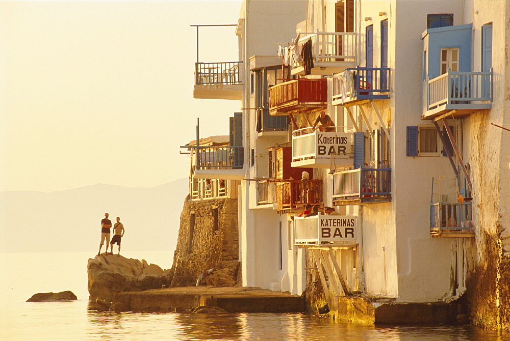 Little Venice in the Alefkandra district of Mykonos Town,  Mykonos, Cyclades Islands, Greece, Europe - 321-3714